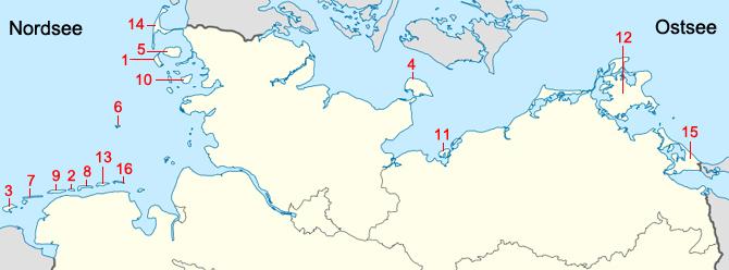 Karte Deutsche Kuste Goudenelftal